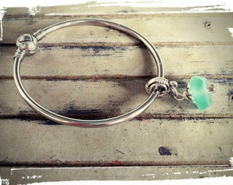 Sale* - Seafoam Summer - Freeform Sea Glass Drop/Silver Accents/European Style Bangle - Ball Closure/Beach Jewelry/Add Beads/Gift for Her