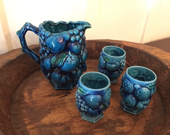 Vintage Inarco Japan Mood Indigo Pitcher and Three Cups with Hexagon Pedestal Base E2853