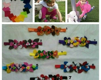 in beautiful colorful flowers headbands