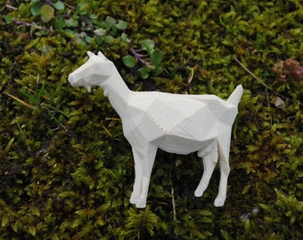 White Goat - 3D printed Polygonal Brooch