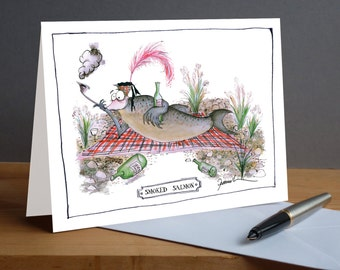 Smoked Salmon -  fun fish greeting card from tony fernandes design