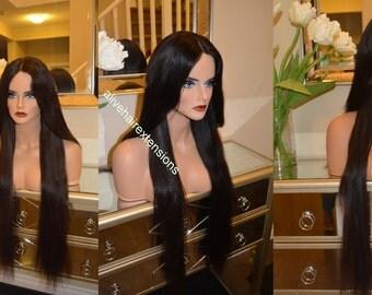 "European Human Hair Wig / Custom made in 30"" Long hair / Luxury quality / Re-useable guaranteed"