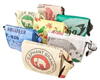 Upcycling shoulder bag, Messenger of cement bag/rice bag