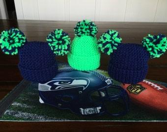 Seattle Seahawks Newborn Pom Pom  Hat