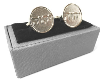 Tetragrammaton Cufflinks Hebrew Letters of Jehovah's Name, Jw Org Cuff Links Silver Tone
