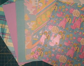 Vintage lot of baby wrapping paper