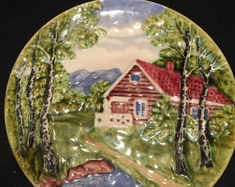 Hand Painted Vintage Schramberg Majolica Plate made in Germany in 1970s.