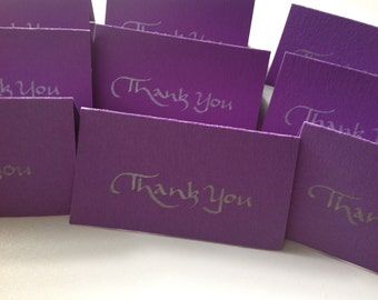 Thank You Cards Set, Mini Notecards, Thank You Notes, Custom Notecards, Personalized Note Cards, Mini Notecard Set, Purple Notecards