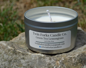 Soy Candle 8oz -Travel Tin -crisp scent candle-fresh scent candle