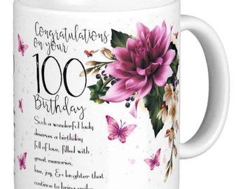 50-100th Birthday | Dahlia Floral | Butterfly Gift Mug | Dahlia birthday mug | Dahlia Flowers