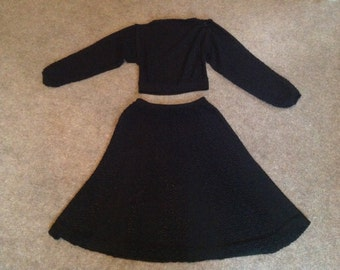 1970s Vintage Fabulous Crochet/ knitted outfit Size S
