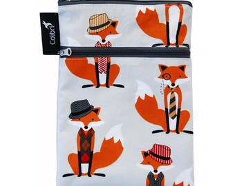 Ready to ship - Mini Wet Dry Bag - Foxes with zipper and PUL