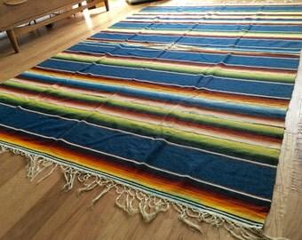 "Vintage Large Mexican Serape Saltillo Wool Blanket Blue Rainbow Southwestern Boho 92"" x 61"""