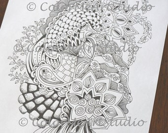 Coloring Page, Zendoodle Coloring Page, Youth to Adult Coloring , Coloring Book Page, Stress Reduction Coloring, 1 PDF Coloring File