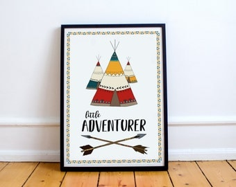INSTANT DOWNLOAD Little Adventurer Wall Art Print, Nursery, Child's Bedroom Printable A4 JPEG