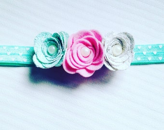 Rose crown, flower,mint,pink,hearts,hair accessories,girl,toddler,baby girl