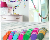 Bright circles multicoloured bunting/ Paper Garland/ String Chain Wedding Birthday banner Kids room Decoration, shop display, classrom decor