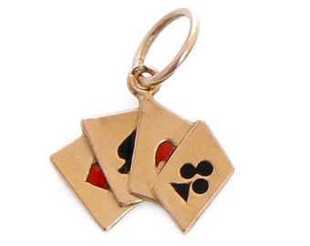 Yellow gold playing cards charm/ Vintage charm