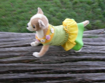 Small dog dress with flowers and Swarovski elements. Size XS Yellow/Green