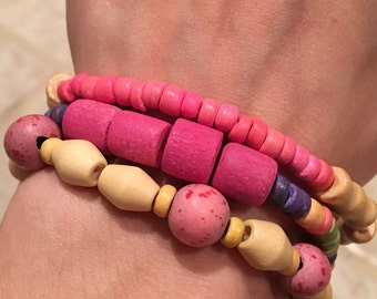 Wooden Bead Bracelet, Pink, Purple, and Green