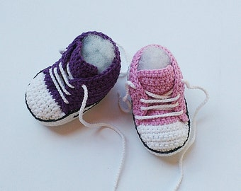 Pink Crochet Baby shoes, Purple Crochet Baby shoes, Baby sneakers, Converse style crochet shoes, Baby booties, crochet slippers,toddler shoe