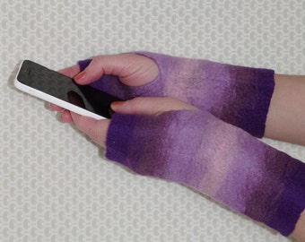 Felted Fingerless Gloves - Purple and Pink Ombre Felted Wool Gloves