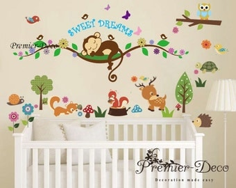 Cheeky Monky /Little woodland animal/ Flower Nursery Baby Girl Boy's Playroom Removable Wall Sticker Decal Mural Wall Art
