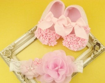 Shoes 1st baby steps Headbands little girls Light pink set newborn Headband shoes toddler Pink flower baby Pink ballet slippers Baby gift