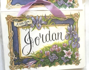 Personalized Flat Note Cards - A note from JORDAN - Floral Iris - 6 count