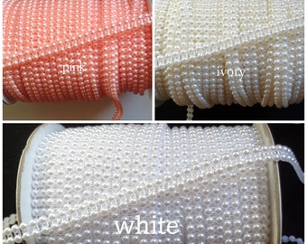 3/8 inch wide Pearl Trim Half Round Acrylic Crystal select color