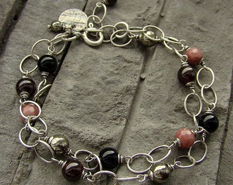 Sterling silver, rhodonite, garnet, black tourmaline and pyrite - multi bracelet