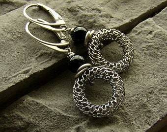 Sterling silver and onyx earrings/oxidized silver
