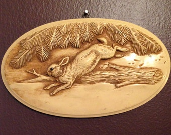 Rabbit Jumping a Log - Wall Plaque