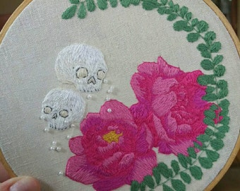 Peonies, skulls, foliage and pearls. Beautiful hoop art. 6inch hoop. Hand embroidered, unique design.