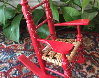 Free Shipping - Doll Rocking Chair, Handcrafted Wood and Rope Doll Rocking Chair, Doll Furniture