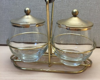 Vintage Libbey condiment set with Caddy