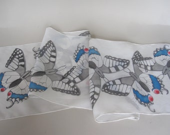 Black and white butterflies. Swallowtail silk scarf in black and white.