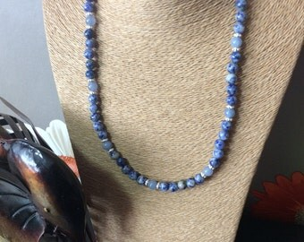 Sodalite, aquamarine and silver necklace