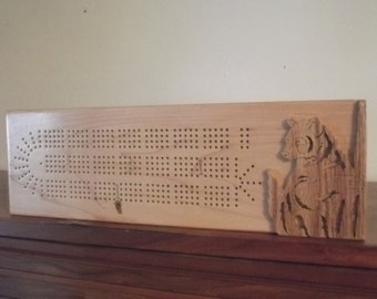 Handcrafted Bear Cribbage Board Aroostook County Maine