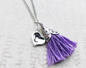 Personalised Initial Necklace Custom Tassel  Heart Tag Jewelry. You Choose Letter and Birthstone colour Tassel. Silver Handmade Jewellery