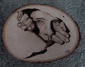 "Wood Burning Art - Pyrography Basswood plaque - oval natural bark border - 7"" x 5"" or 11"" x 8"""