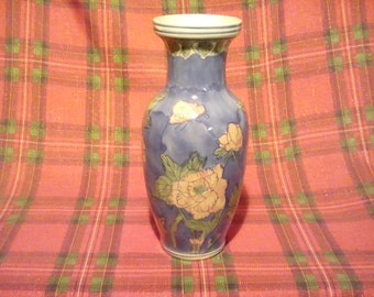 Floral hand painted vase
