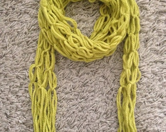 Handmade Woollen Skinny Scarf - Available in Lime Green & Grouse