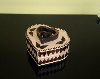 Handmade wooden trinket box, heart shaped keepsake box with heart design