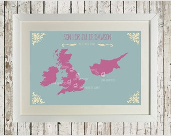Made to order, bespoke, military, postings, travel, map, retirement, birthday, anniversary, personalised