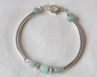 Green Aventurine & silver beaded bracelet