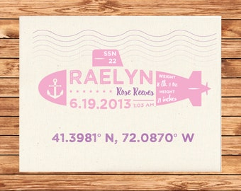 Personalized Baby Birth stat name canvas print Submarine on flat Cotton Canvas Sheet 8.5x11 (frame not included)