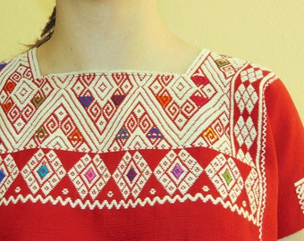 Vintage Mexican Huipil Blouse, Handwoven Mexican Top, Frida Kahlo Blouse, Mexican Embroidered Ethnic Blouse, Boho Hippie Huipil Top