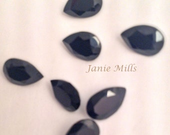 Onyx Black Faceted 6 x 9  mm pear gemstone