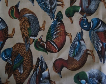 "Almost 1 Yd Mallard Ducks Cotton Quilting Fabric 33"" X 45"" V.I.P. Cranston Printwork"